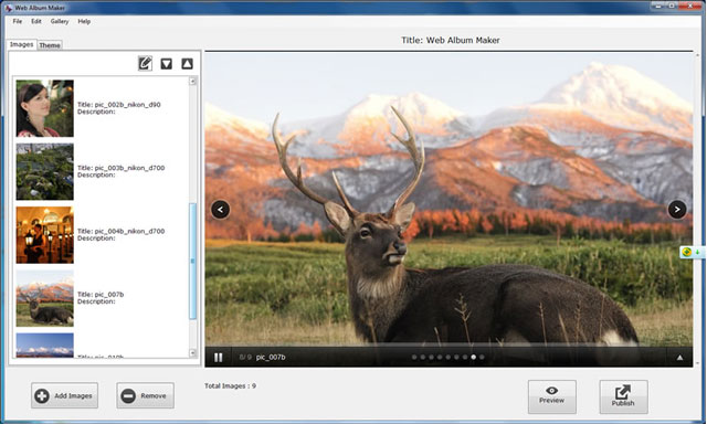 Photo gallery software screenshot